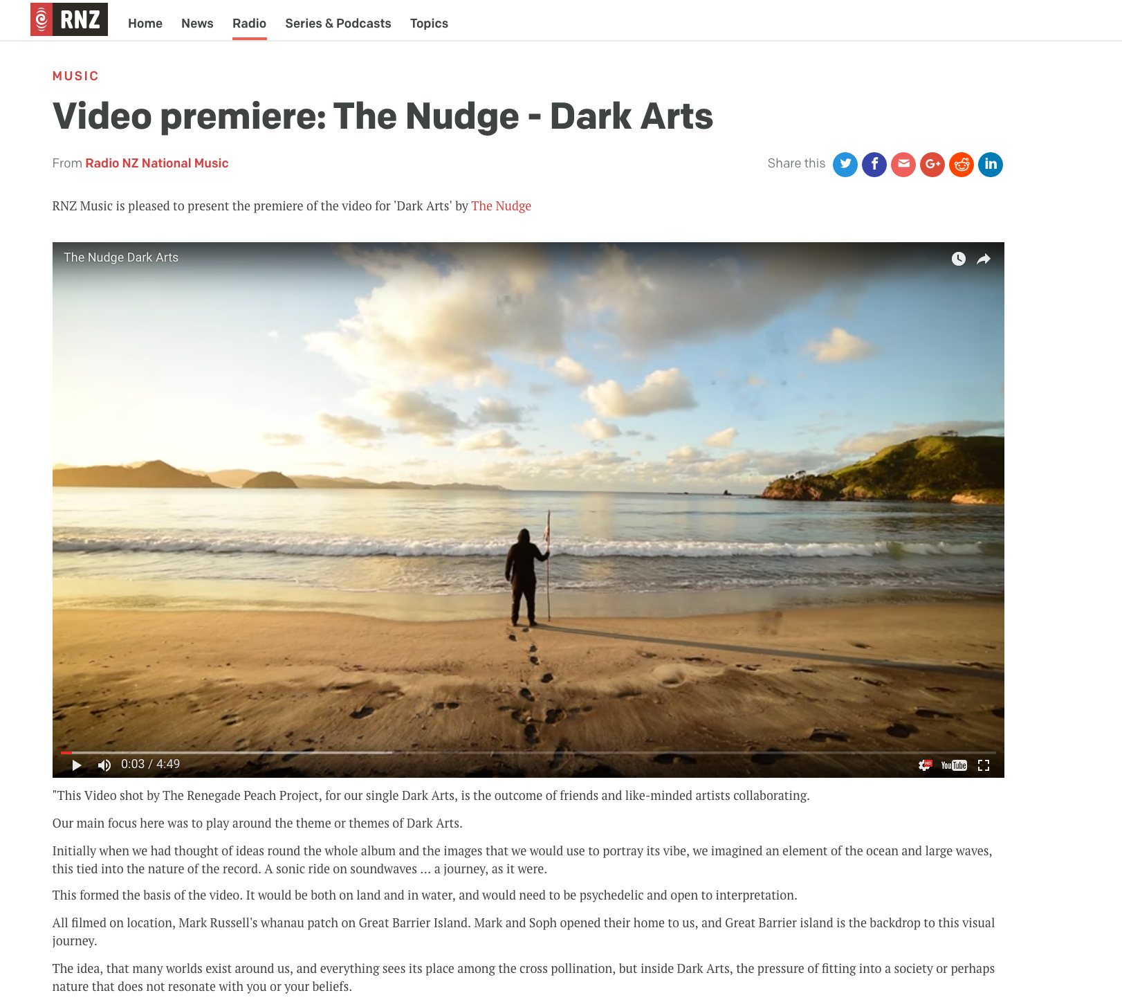 "RNZ National premiering our Official Music Video for The Nudge's single ""Dark Arts""."