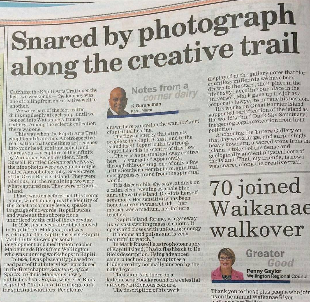 Kapiti Mayor K Gurunathan's article about the Kapiti Coast Arts Trail, 2017.  Title refers to Mark's astrophotography image of Kapiti Island.