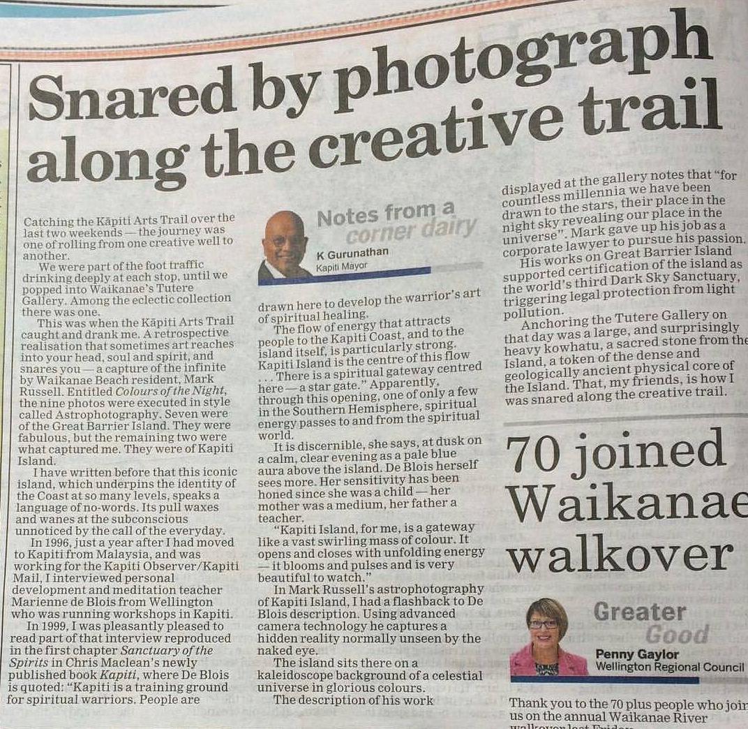 Kapiti Mayor K Gurunathan's article about the Kapiti Coast Arts Trail, 2017. Title refers to Mark's astrophotography image of Kapiti Island.