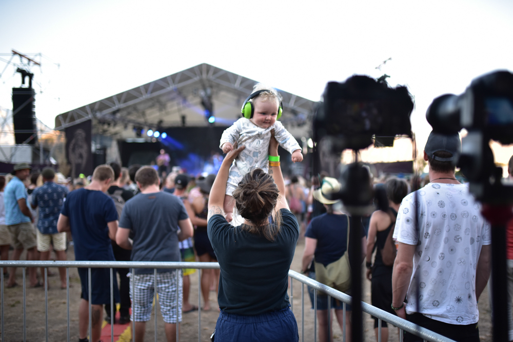 Theo! Our little man on high watching Marlon Williams' set. His first festival of many.