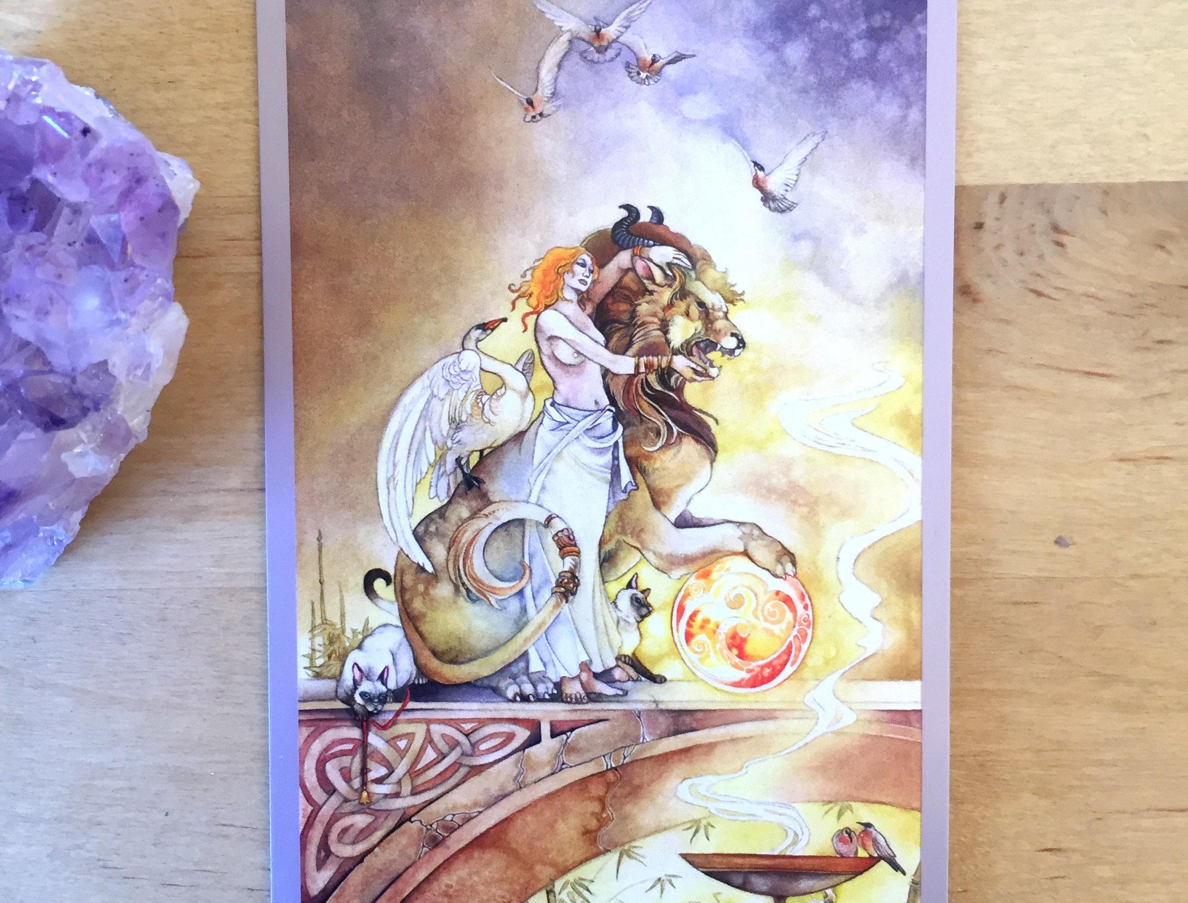 Strength Card from the  Shadowscape Tarot Deck