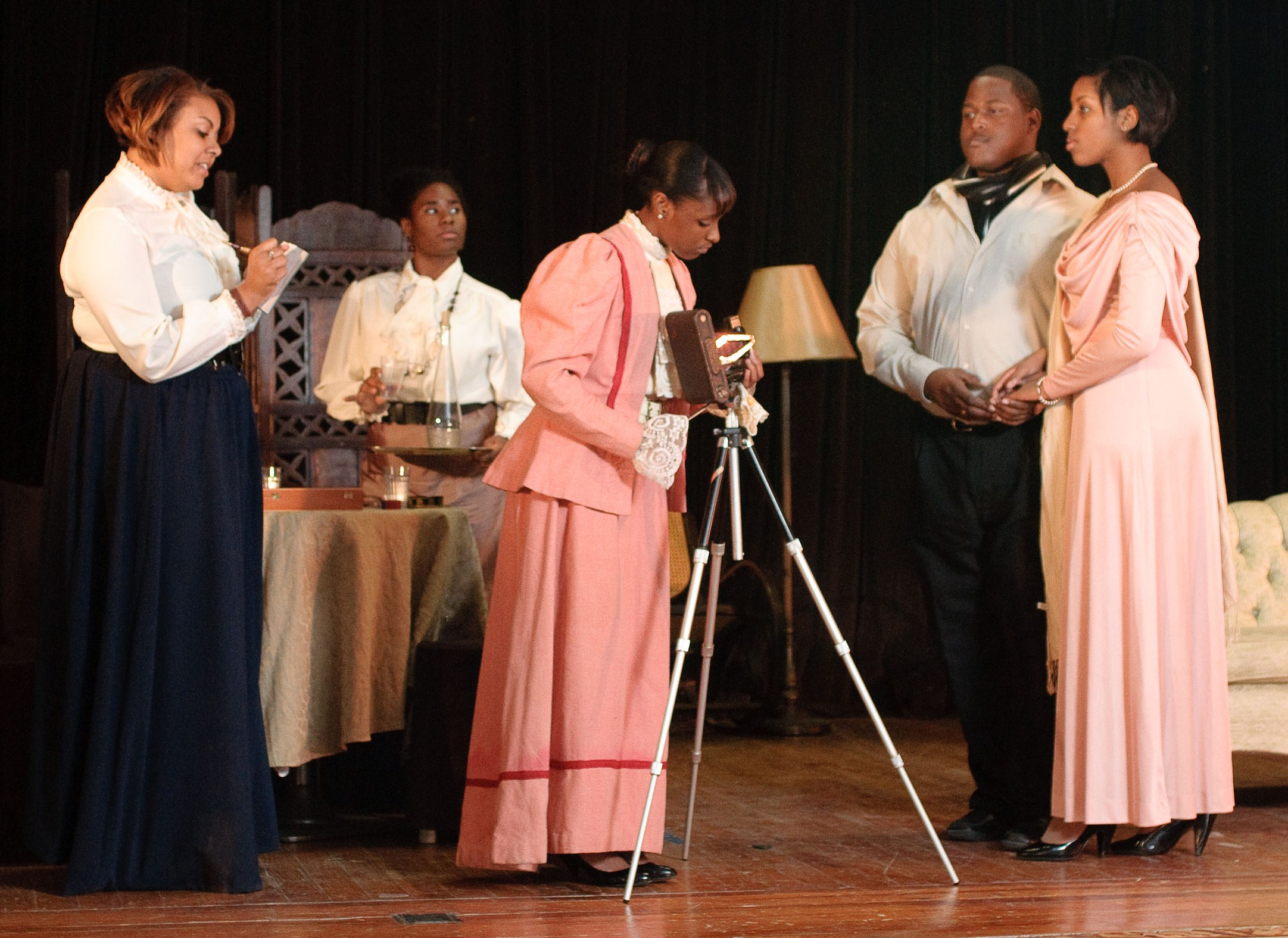 The Xavier University of Louisiana cast of  An Embarrassing Position , directed by Dara Rahming. From left to right, Alesia Sterling, Melissa D. Lewis, Kapria Joseph, Dedrian Hogan, and Crystal Morris.    (Photo by Irving Johnson III)
