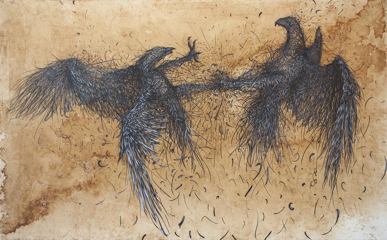 "Title: Defoliation-R  Size: 200 x 122 cm  Medium: Acrylic ink, tea on linen, 2015  Available on 1st June at ""XXI ART CONTEMPORAIN URBAIN -URBAN CONTEMPORARY ART"" DIGARD AUCTION   www.digard.com"