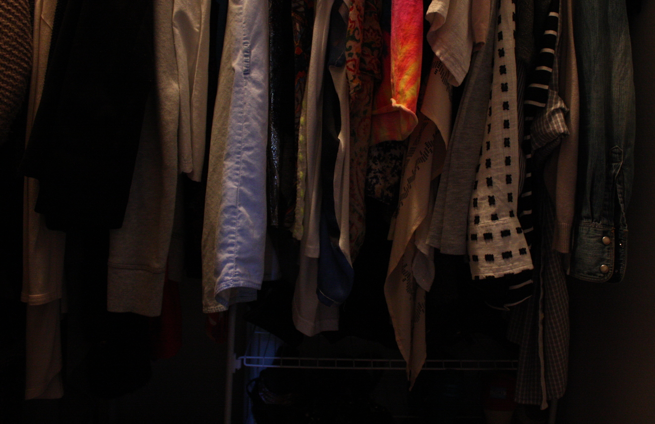 My closet looks a bit like a schizophrenic lives here because of my stages of obsession.