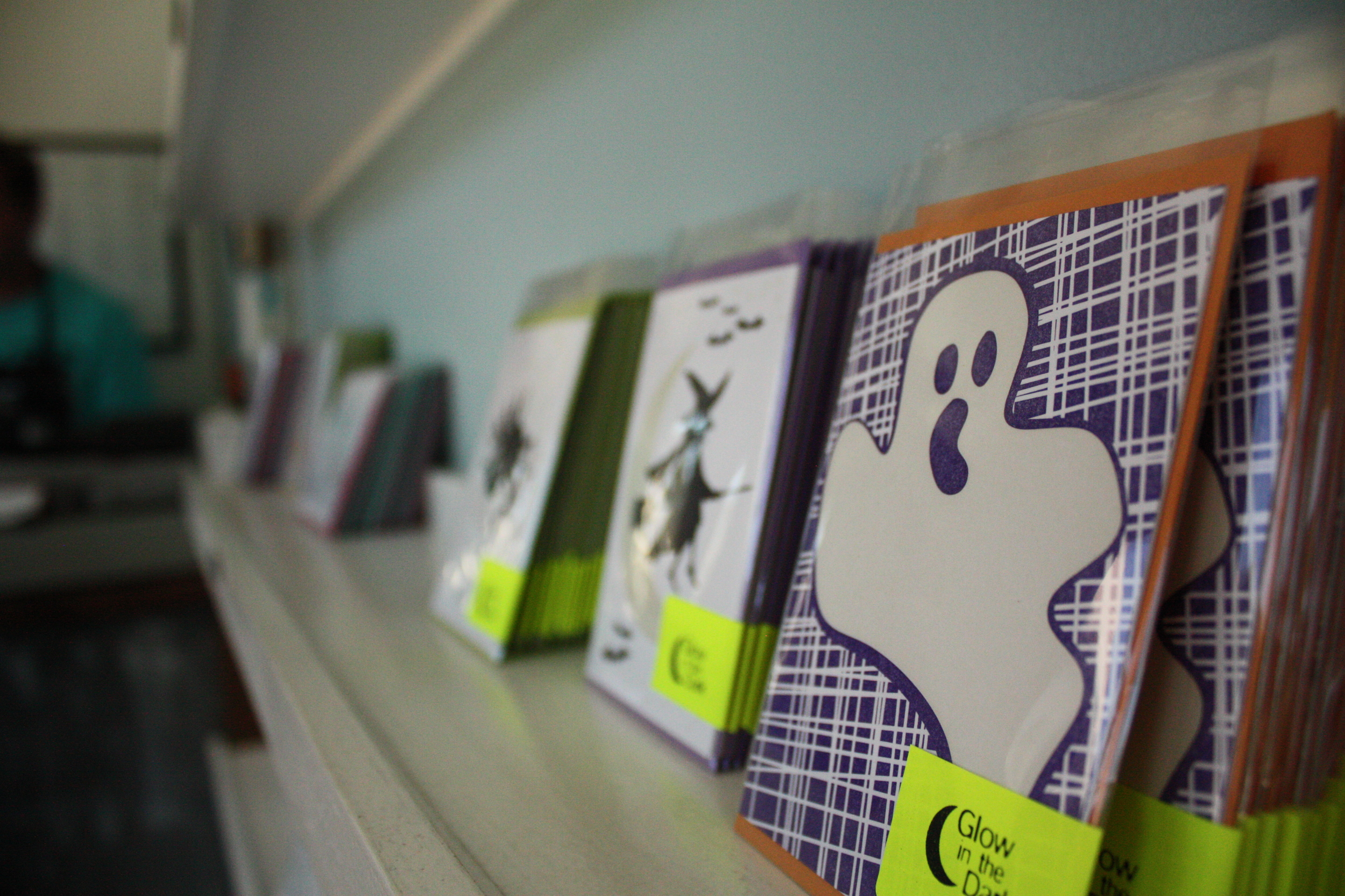 Glow in the dark Halloween letterpress cards -- how cool is that!?