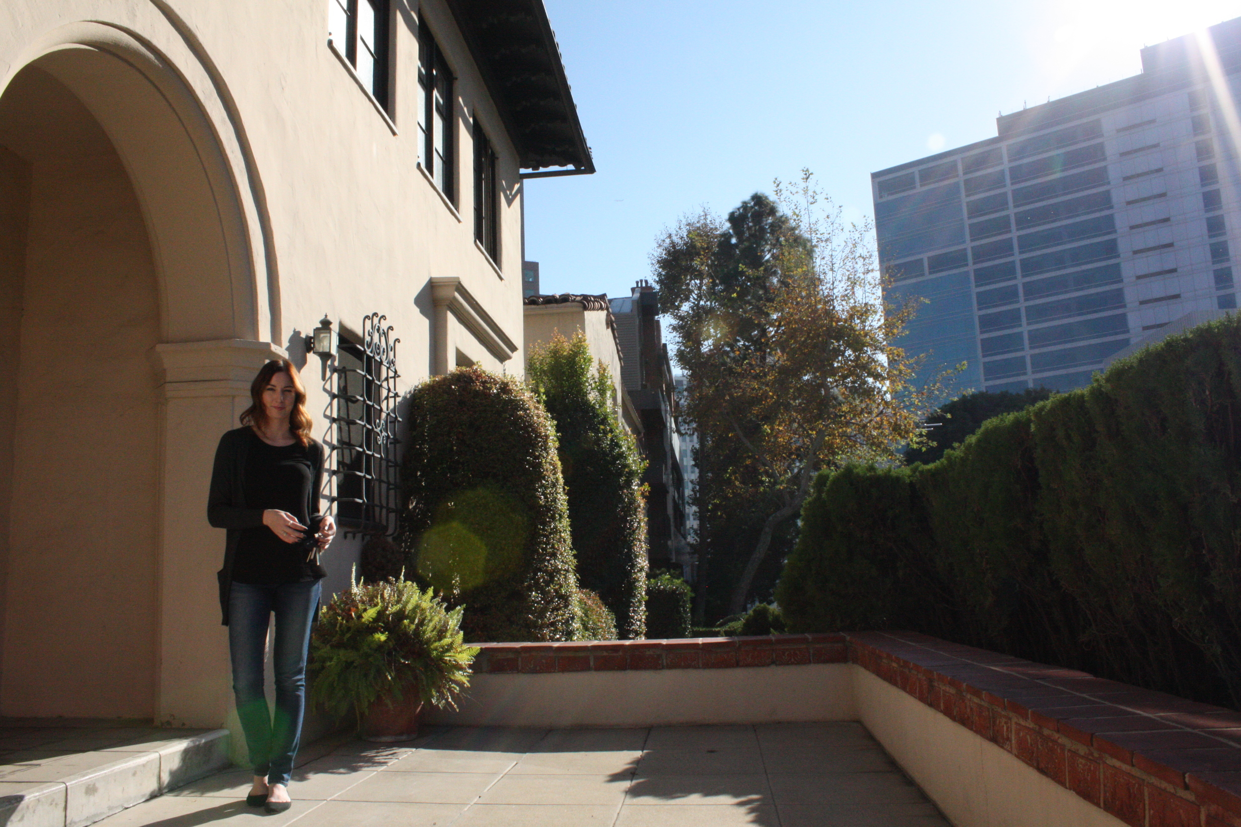From her porch, you can see the building where she first worked when she came to LA.