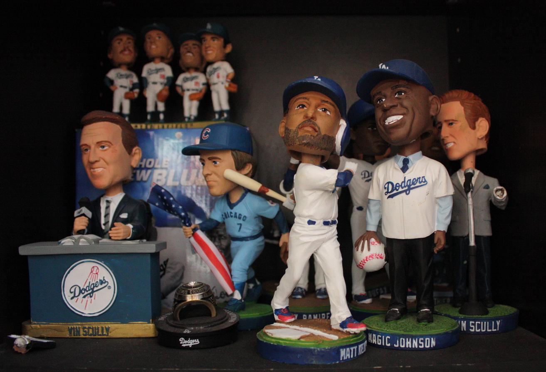 Jill's extensive Dodger Bobble head collection.