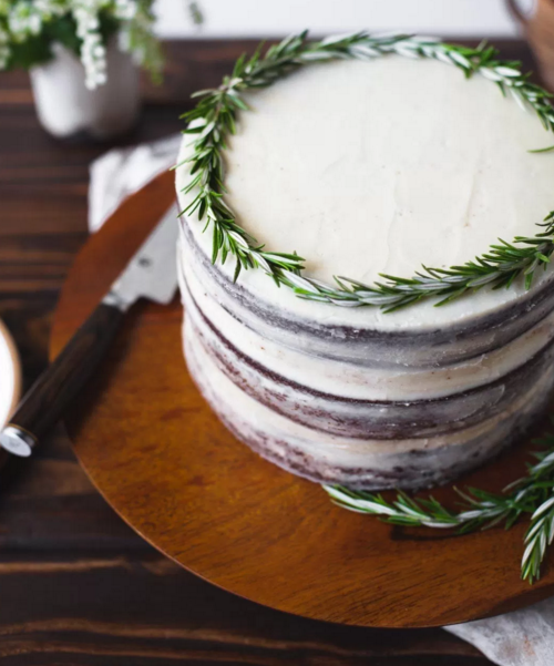 Chocolate Olive Oil Cake with Rosemary Buttercream