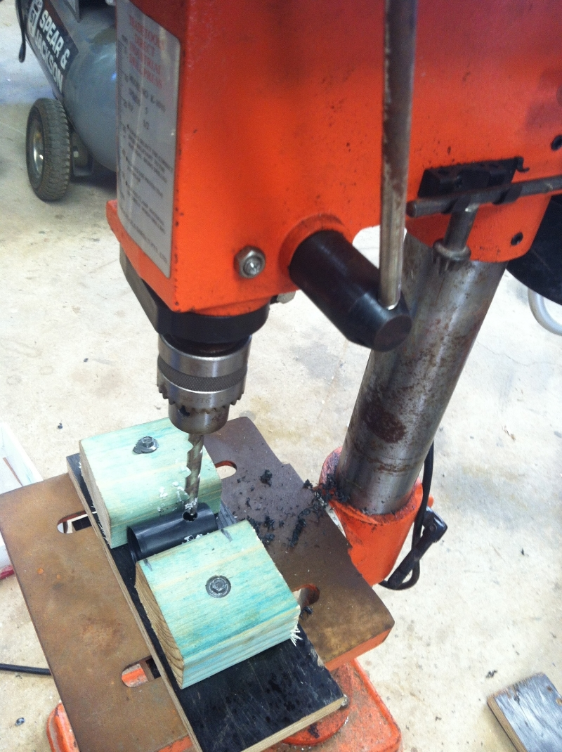 Drill your larger hole