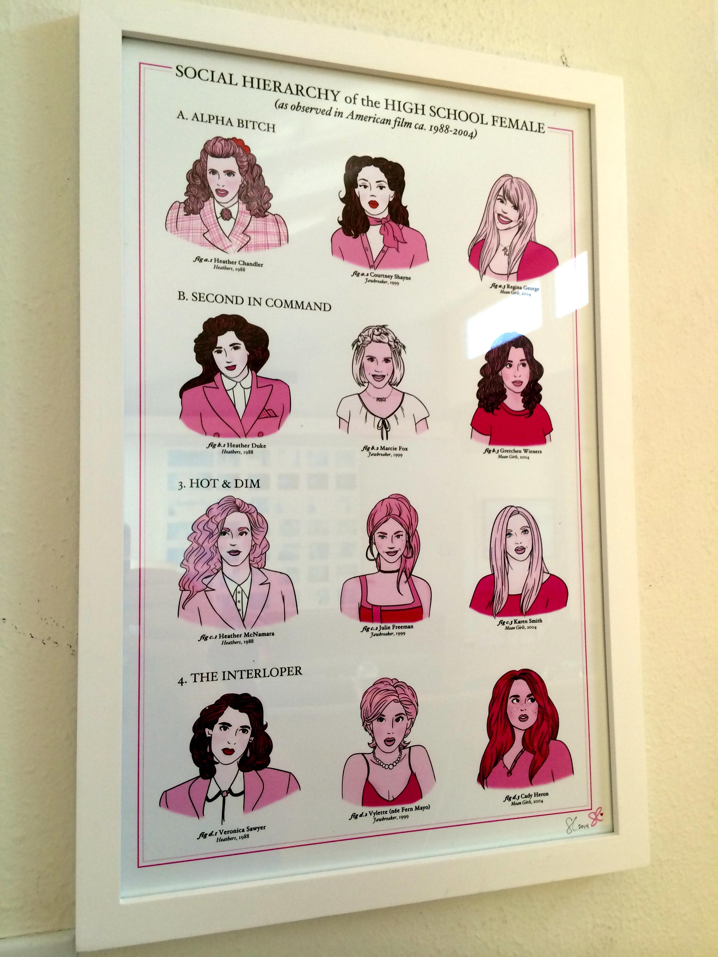 A piece of fan art Darren got celebrating the teen girl movies; Heathers, Jawbreaker and Mean Girls.