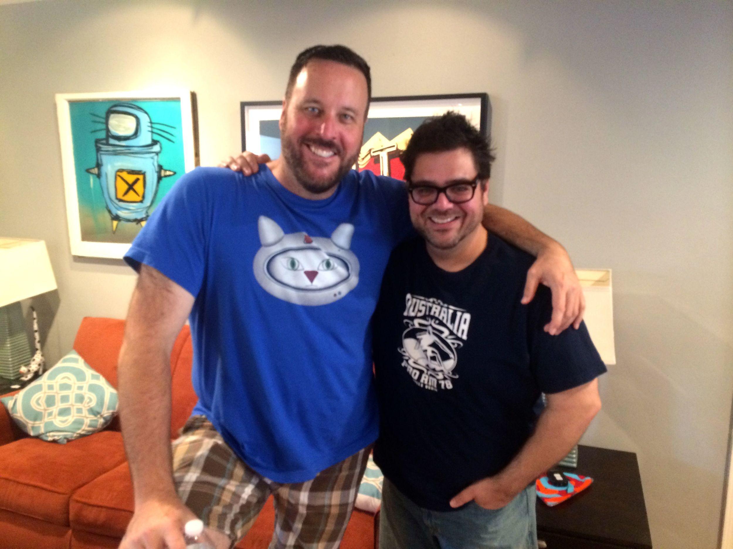 Joe and Kieran in Joe's living room in Glendale.