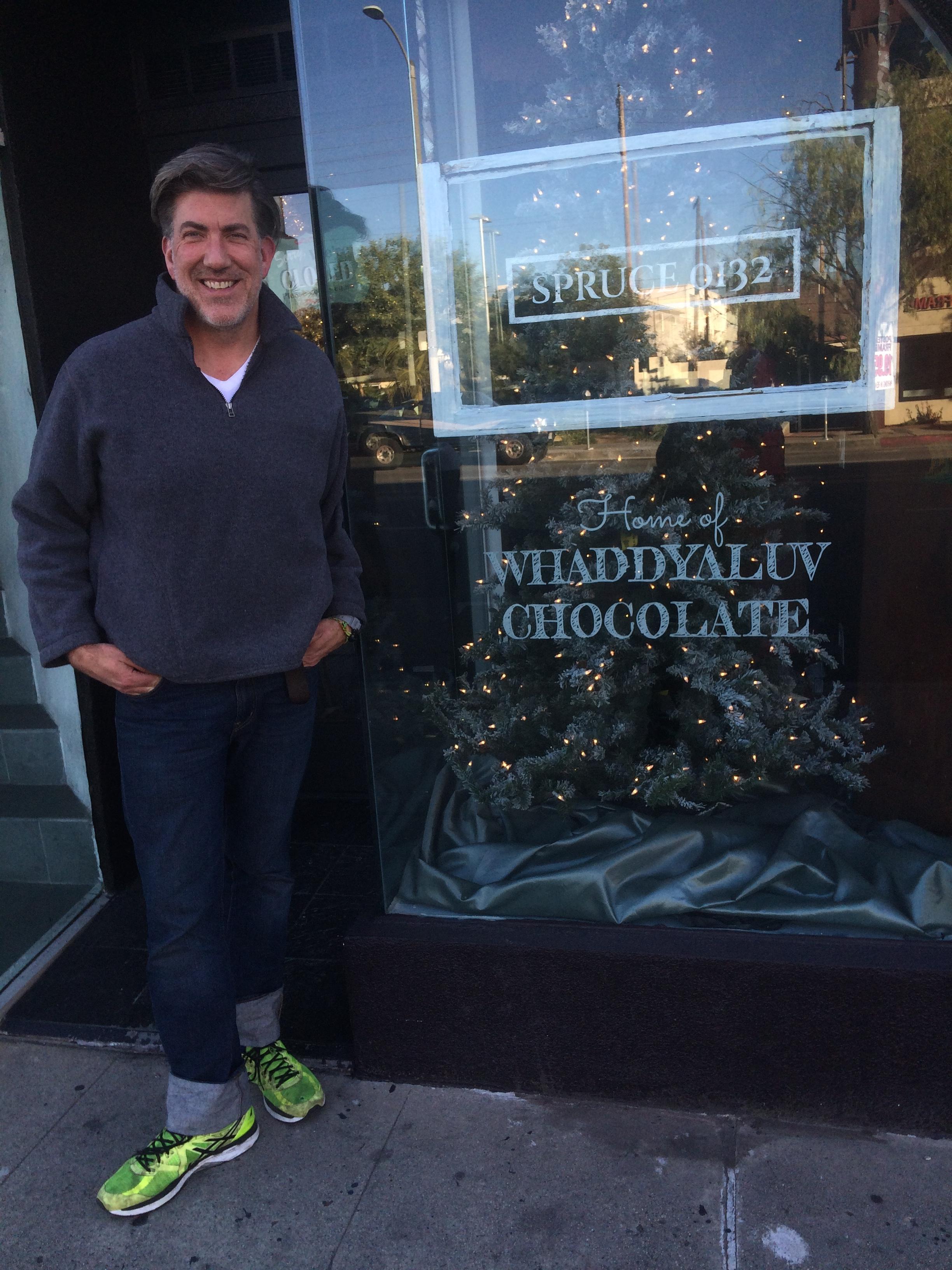 Garrett outside his shop on 3rd St. in LA