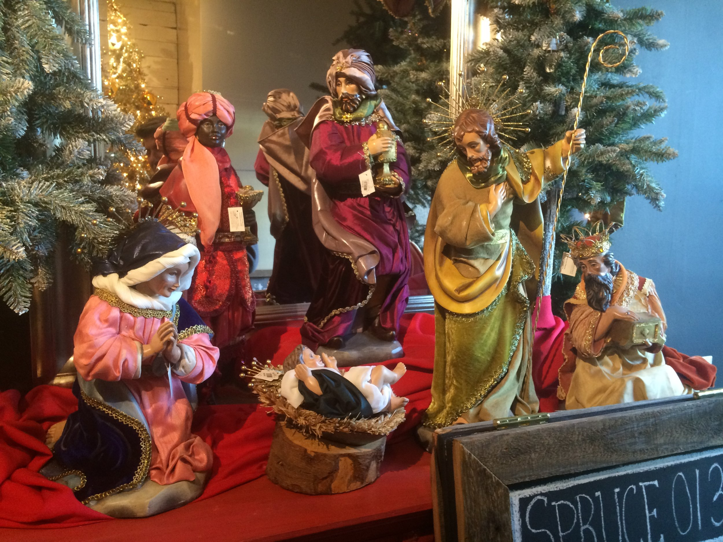 The nativity scene featuring Baby Jesus that saved his shop from fire and robbery.