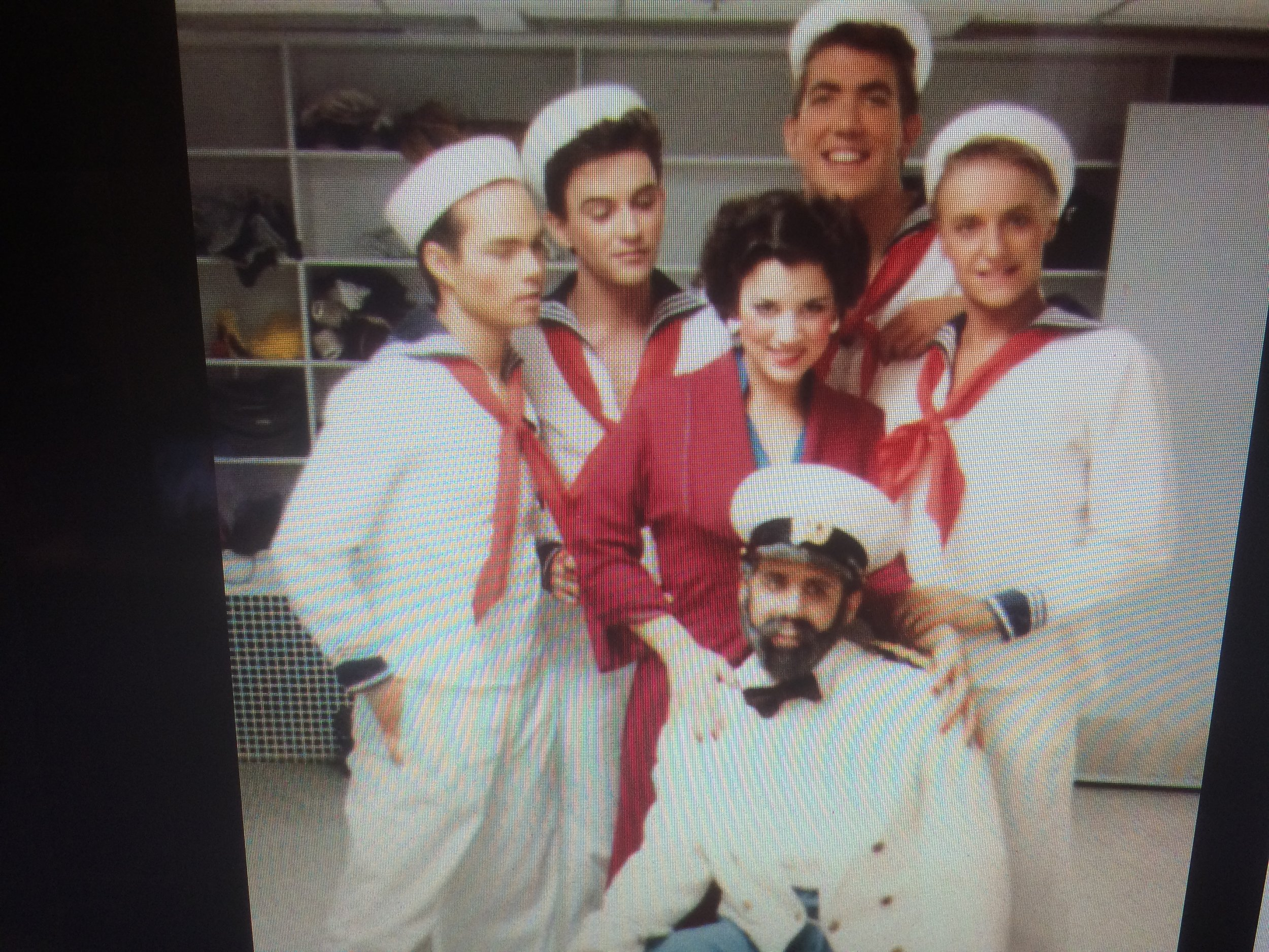 A photo from Garrett's Facebook page when Dennis and Garrett were sailors in the ASU Theater Department of Anything Goes.
