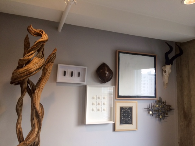 The decor behind Shawn's desk.