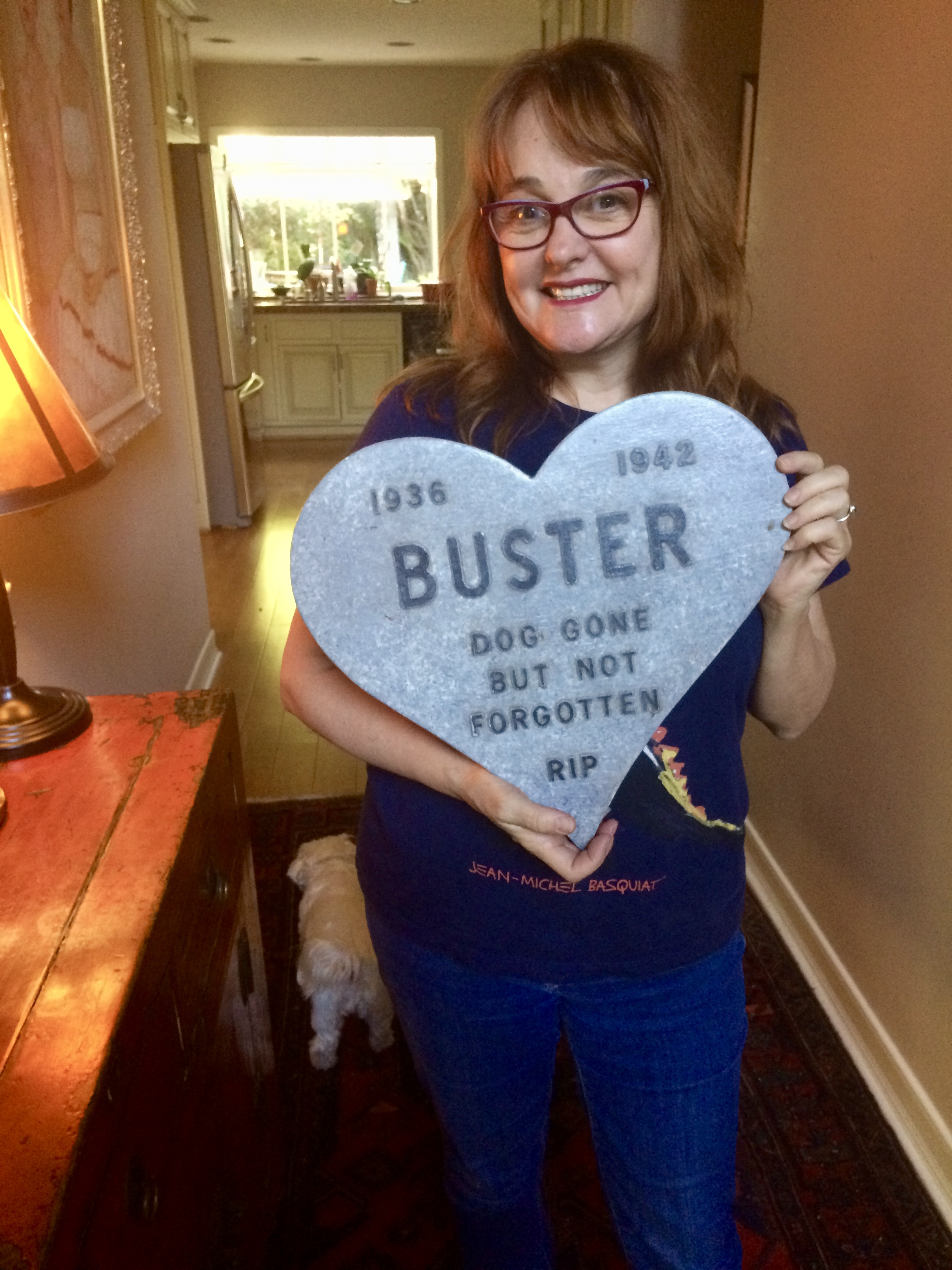 What's Julie's favorite souvenir from a job? This heart-shaped tribute to her dead dog Buster...from  Medusa: Dare to Be Truthful
