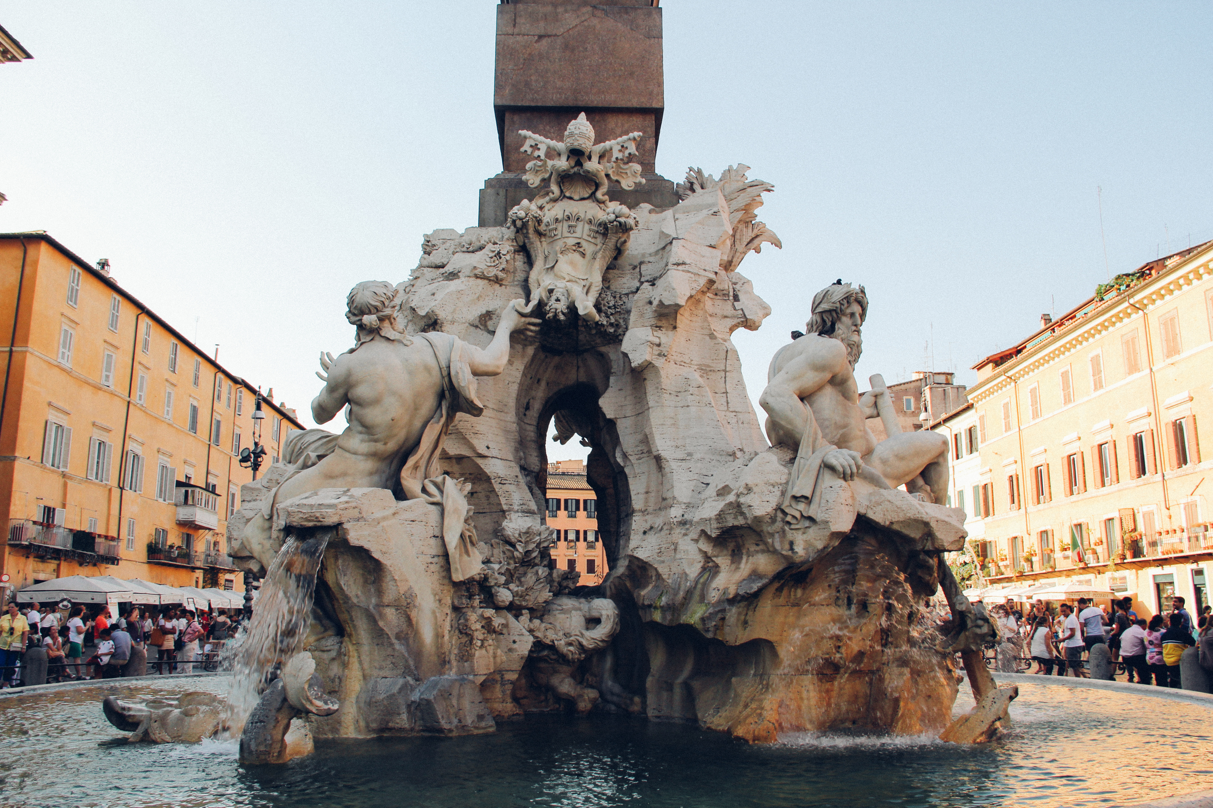 Fontana dei Quattro Fiumi (Fountain of the Four Rivers), 1647-1651, the largest of the three fountains