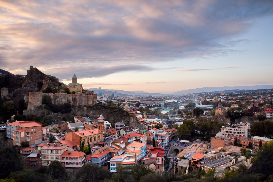 Overview of Tbilisi old town.