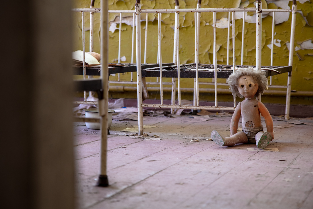 A doll sits in the Kopachi Kindergarten.