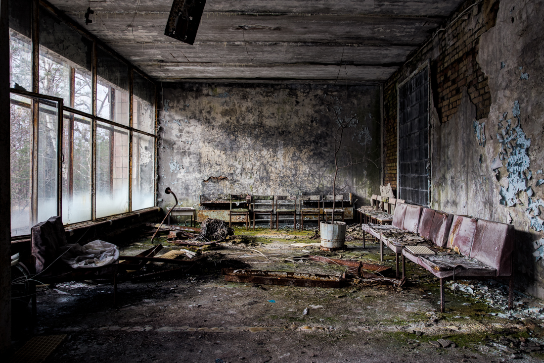 The hospital foyer, a piece of cloth here registers high on the geiger counter. Shot 2015.