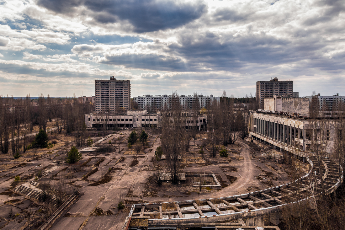 The Palace of Culture in the Spring of 2015 - shot from the roof of Hotel Polissya. Shot 2015.