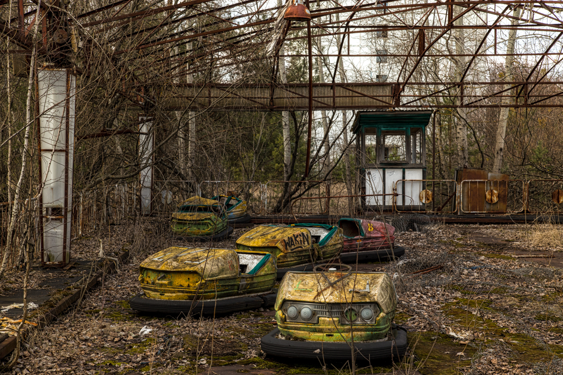 A wide shot of the bumper cars in 2015.