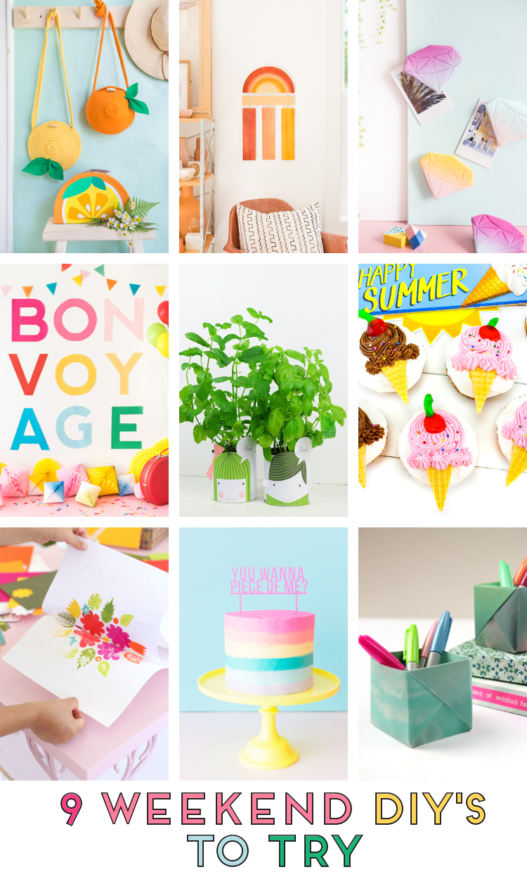 9 WEEKEND DIY'S TO TRY - ICE CREAM CUPCAKES, RAINBOW WALL HANGINGS, CITRUS FRUIT ROPE BAGS, ORIGAMI PEN POTS AND MORE #WEEKENDDIYS #WEEKENDCRAFTS #DIY #CRAFTS #SUMMERCRAFTS