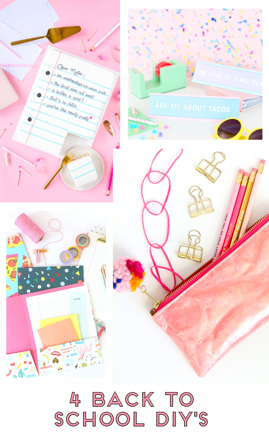 4 BACK TO SCHOOL DIY'S #BACKTOSCHOOL #ROUNDUP #SCHOOL #DIY