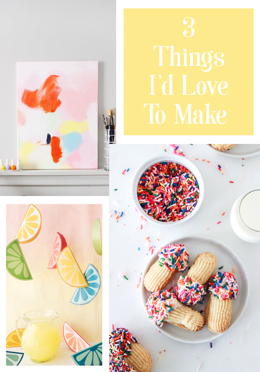 THREE THINGS I'D LOVE TO MAKE - ABSTRACT ART, PRINTABLE SUMMER FRUIT AND SPRINKLE DIPPED SUGAR COOKIES #diy #crafts #papercrafts #roundup