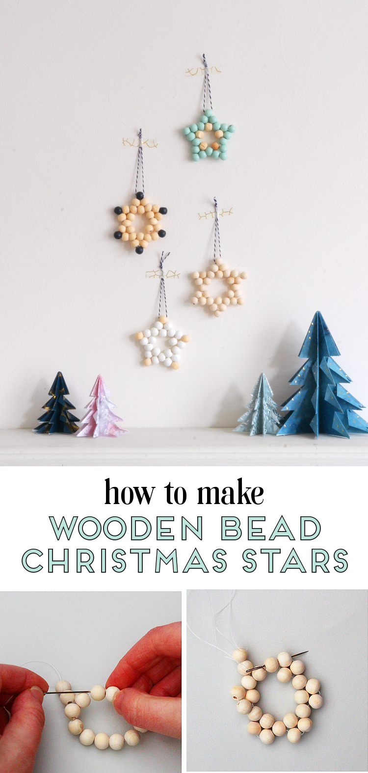 HOW TO MAKE SCANDINAVIAN INSPIRED WOODEN BEAD STAR CHRISTMAS DECORATIONS #chrIstmas #christmascrafts #crafts #holidaycrafts #woodenstar #star #woodenbeadtstars #diy #gatheringbeauty