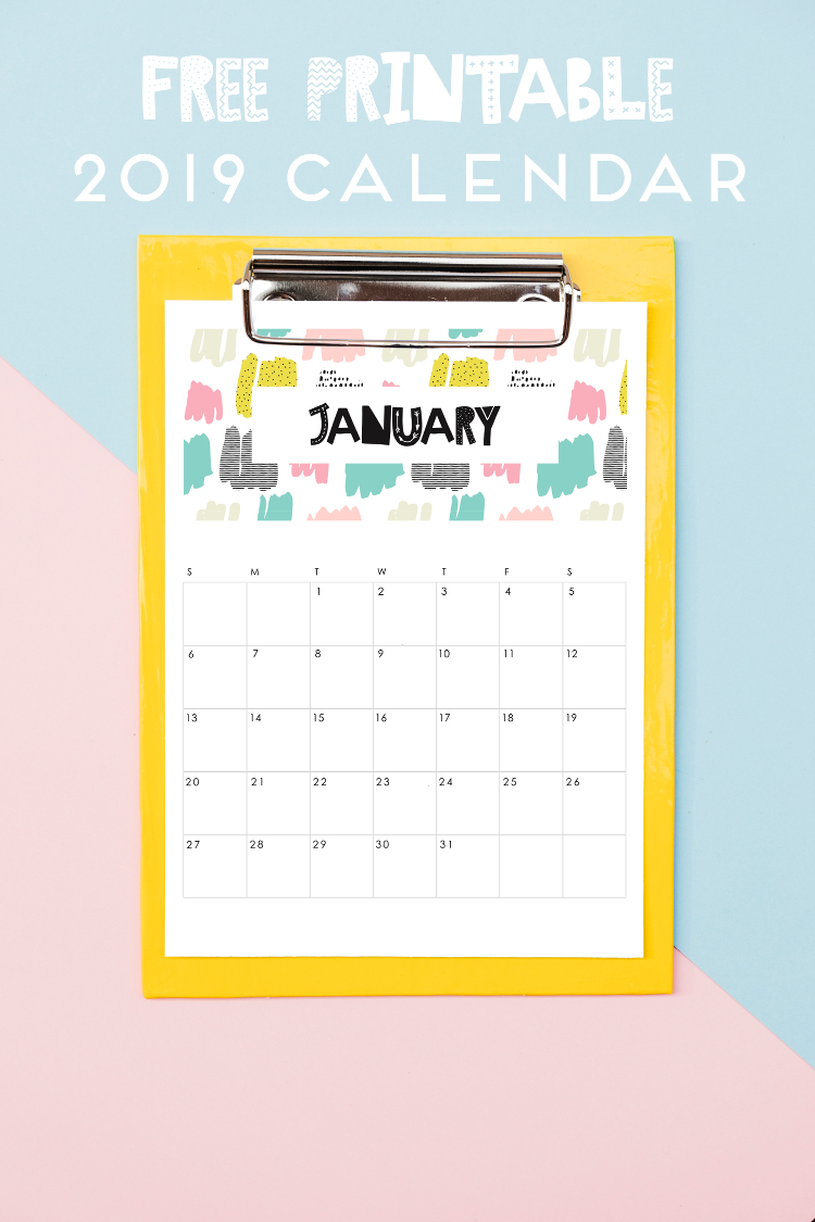 FREE PRINTABLE ABSTRACT PATTERNED 2019 CALENDAR.