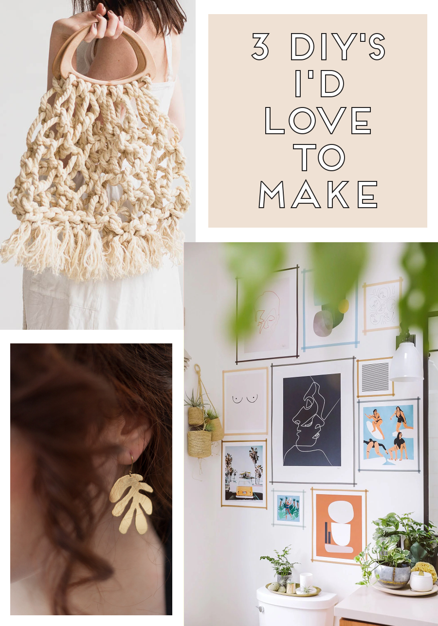 Three diy's I'd love to make - macrame bag, Matisse inspired brass earrings and a washi tape gallery wall #diy #craft #handmade #macrame #matisse #washi #washitape #gallerywall #roundup #craftroundup #diyroundup #gatheringbeauty