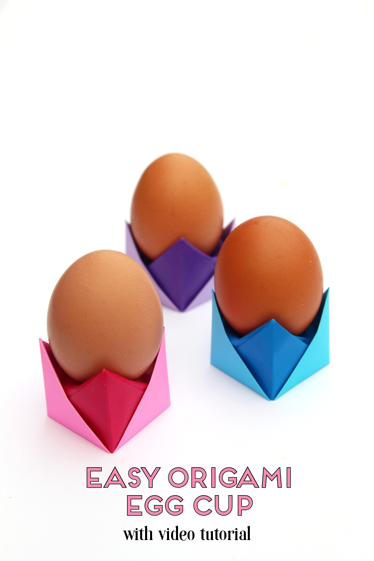 MAKE THESE EASY ORIGAMI EGG CUPS FOR EASTER - WITH FREE VIDEO TUTORIAL #easter #egg #origami #eastercrafts #paper #papercrafts #crafts #diy #gatheringbeauty