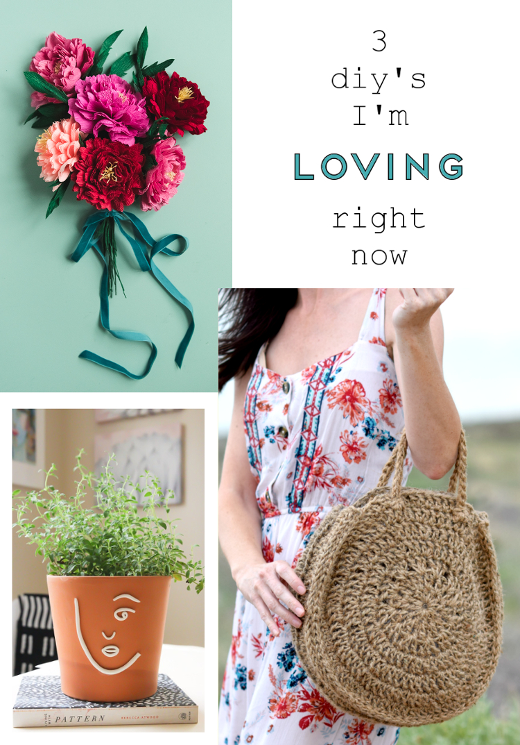 THREE DIY'S I'M LOVING RIGHT NOW - PAPER PEONIES, FACE PLANT POT AND A CIRCULAR CROCHET BAG #DIY #CRAFTS #3DIYSIMLOVINGRIGHTNOW