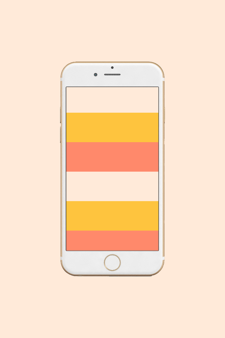 Striped mustard and coral phone wallpaper