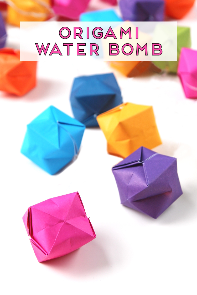Learn how to make an origami water bomb from paper. A quick and fun project to make this summer. Fold them, fill with water and have fun throwing them as you chase down your friends and family #origami #origamipaper #origamiinstructions
