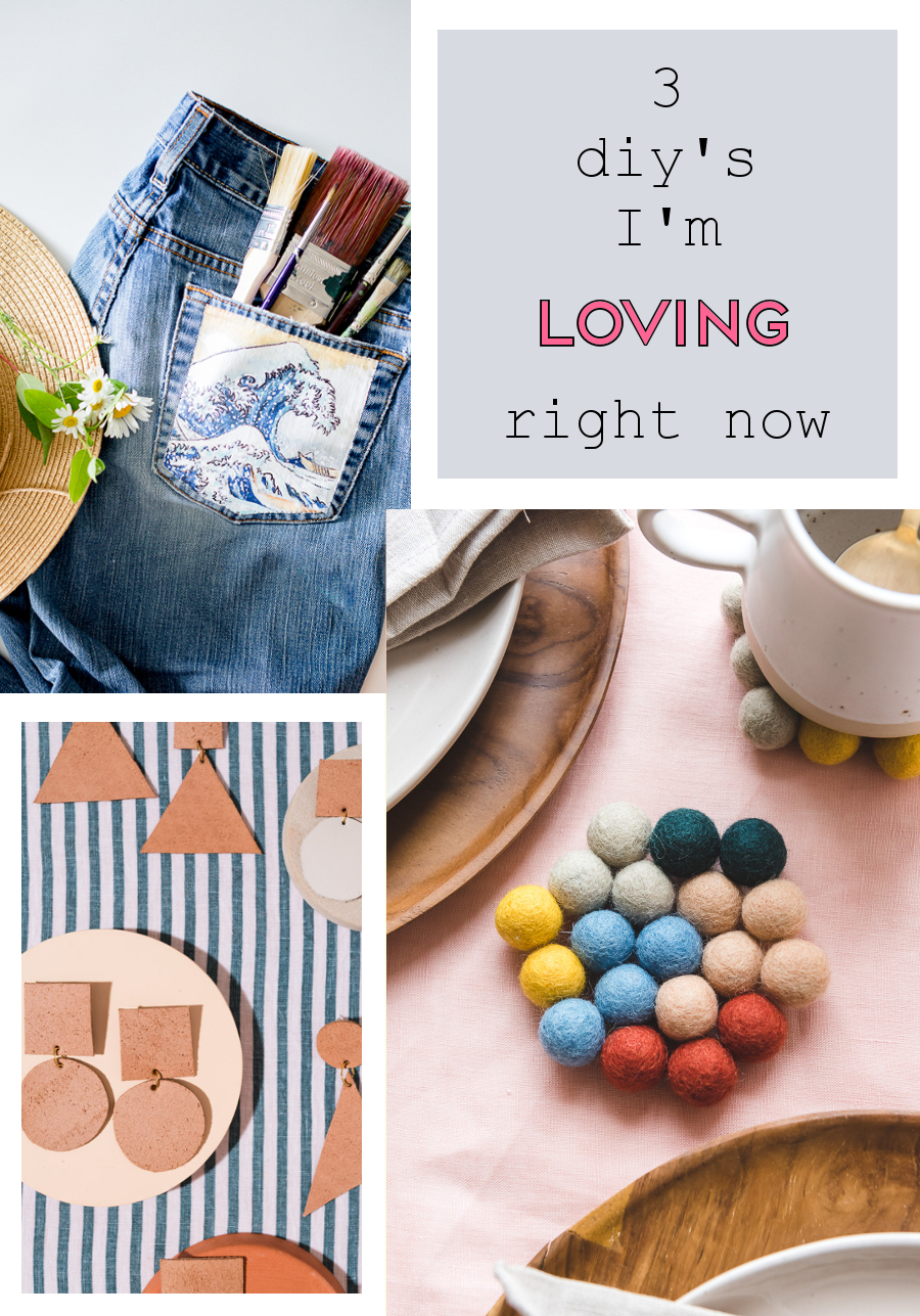 3 DIY'S I'D LOVE TO MAKE - WAVE PAINTED JEANS, STATEMENT EARRINGS AND A CUTE COASTER.