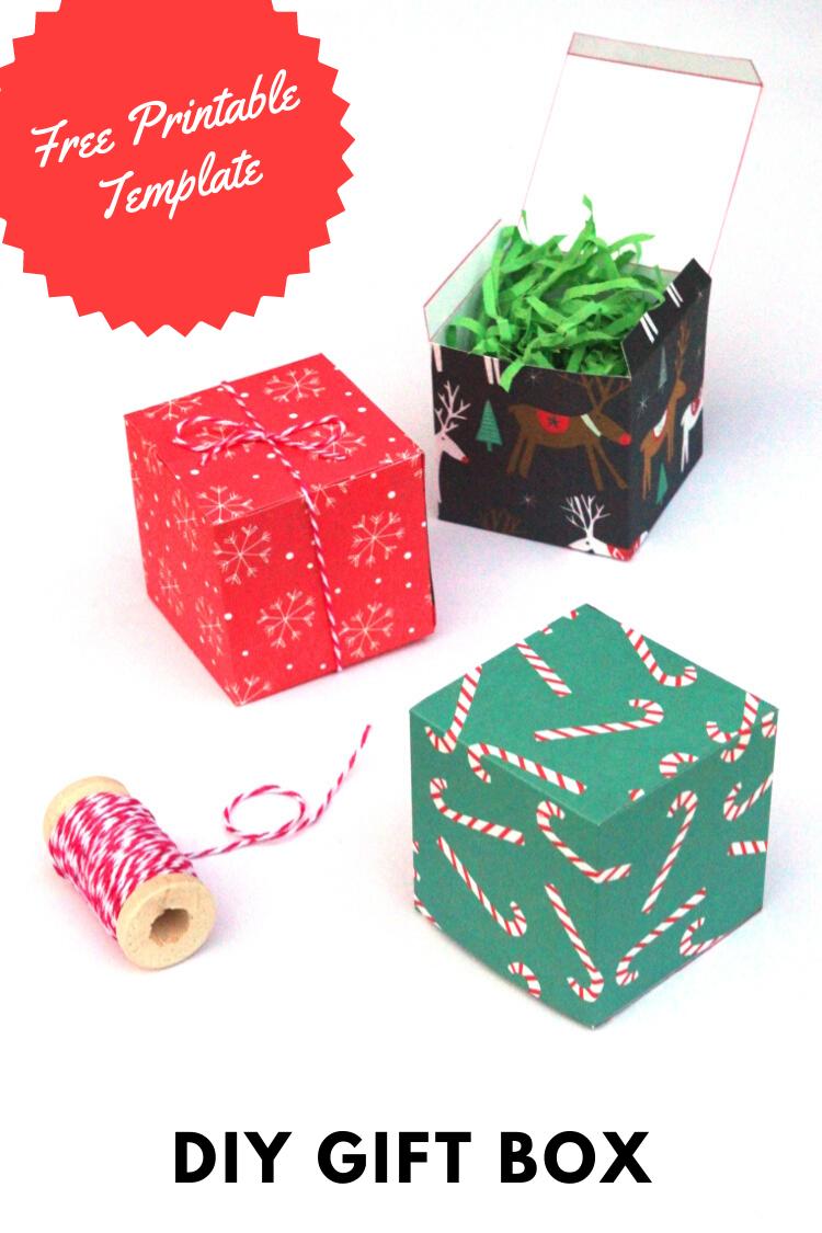 Diy Christmas Gift Box Free Printable Template Gathering Beauty