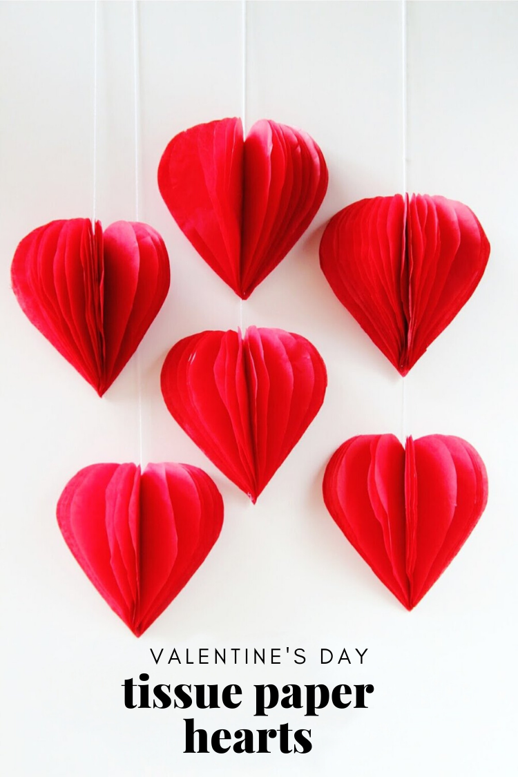 Diy 3d Valentine S Day Tissue Paper Heart Decorations Gathering