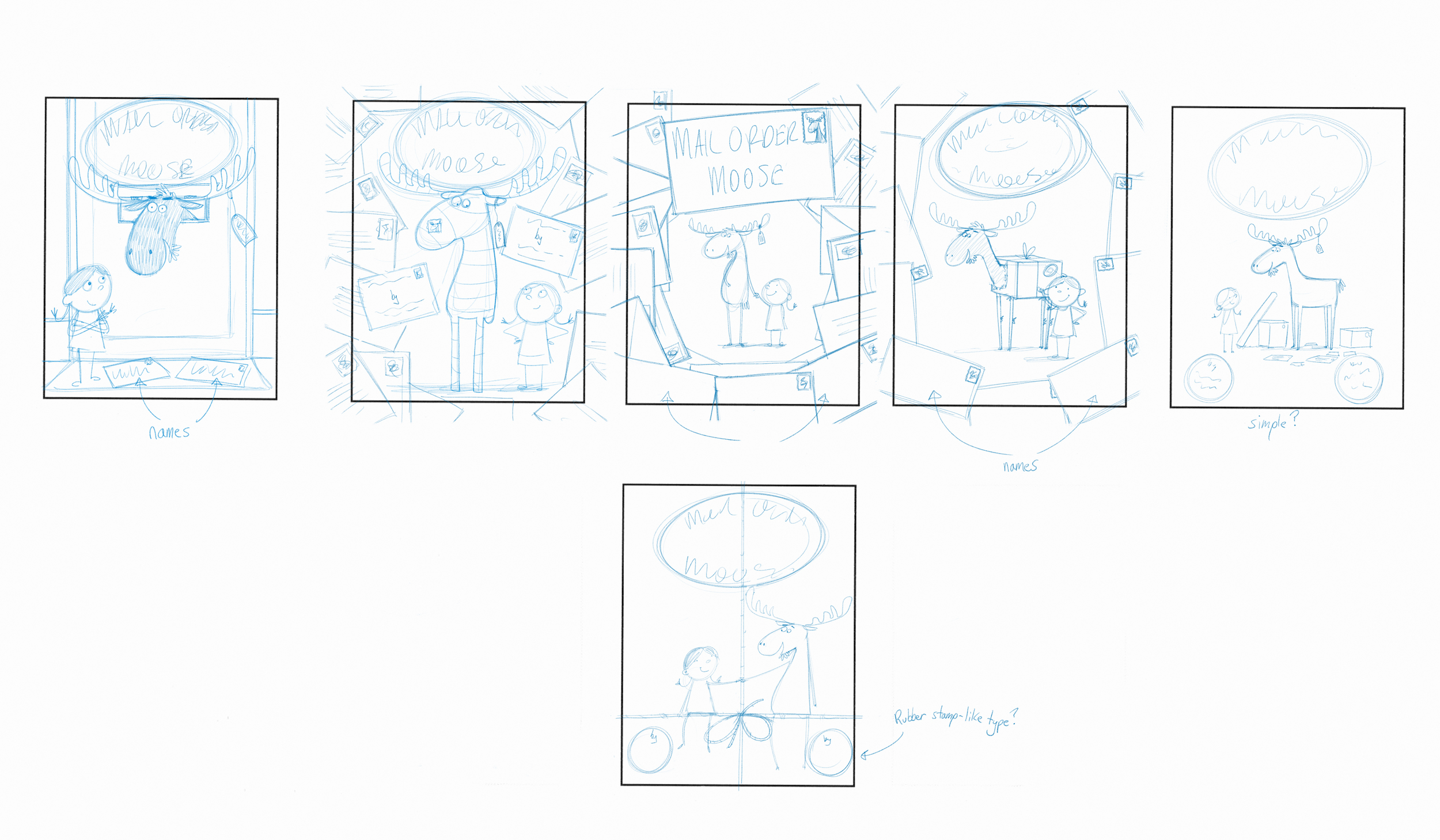 Some early cover ideas. I had the thought of using letters and envelopes as a border to frame the two main characters.