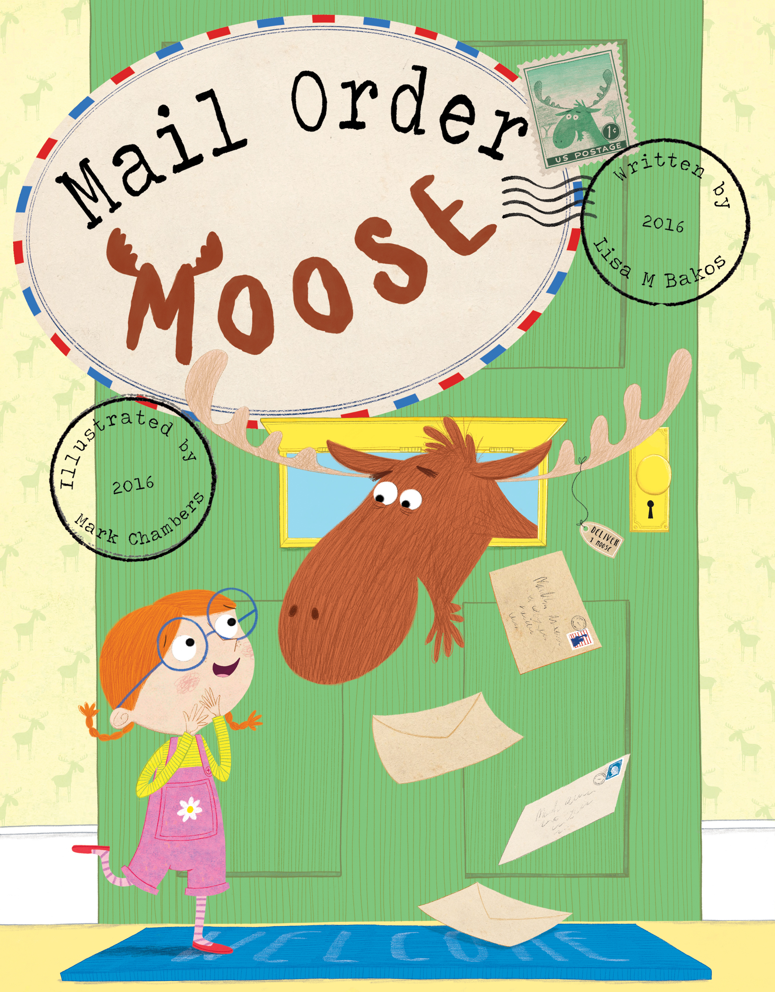 I also went to colour on one other idea I had, to see what it would look like and to give the publisher a choice just in case. While this looked alright it was felt that we needed to see the whole moose and not just his head stuck through a letterbox. The type that I created was working well though so we used this in the subsequent rounds of cover designs as well as the stamp concept.