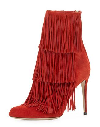 Paul Andrew Red Fringe Ankle Boot