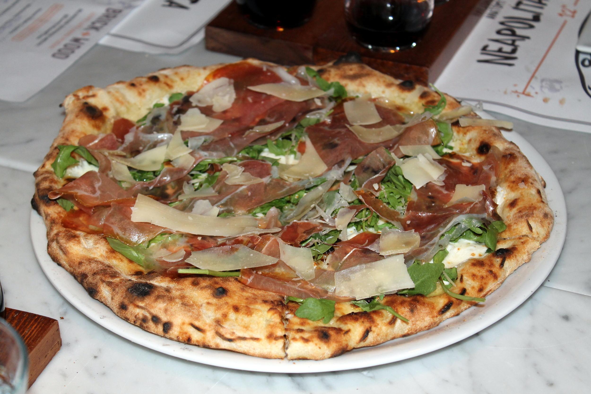 Brick + WOOD, Fairfield CT - Arugula e Prosciutto Pizza Image Jessica Gordon Ryan