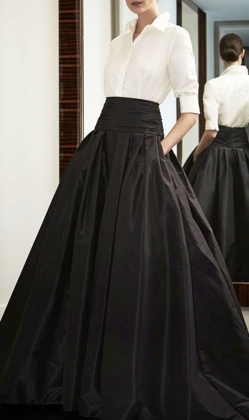 A white blouse and a taffeta skirt is always a classic