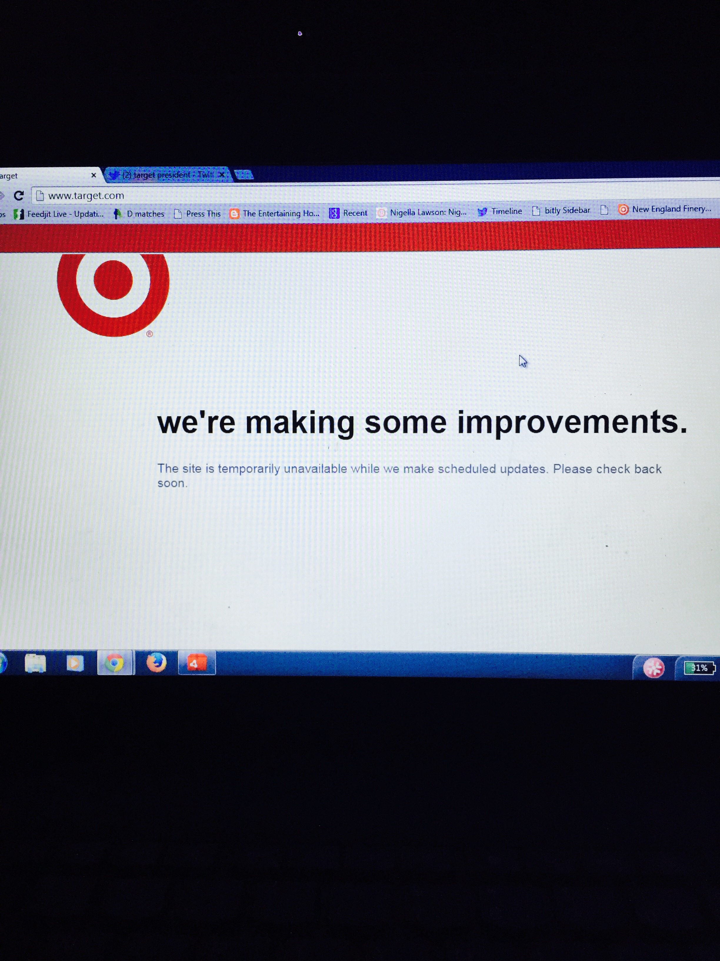 The Target website after the stroke of Midnight on April 19th, 2015