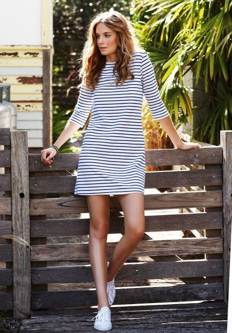This preppy casual tunic is a perfect weekend dress. Via JCrew.