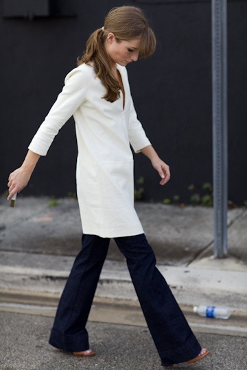 This simple white tunic comes to us from  Emerson Fry.  Worn over full pants and with heels the tunic has a very urban feel to it, yet alone it could be worn at the country or the beach. (Tunic is no longer available.)