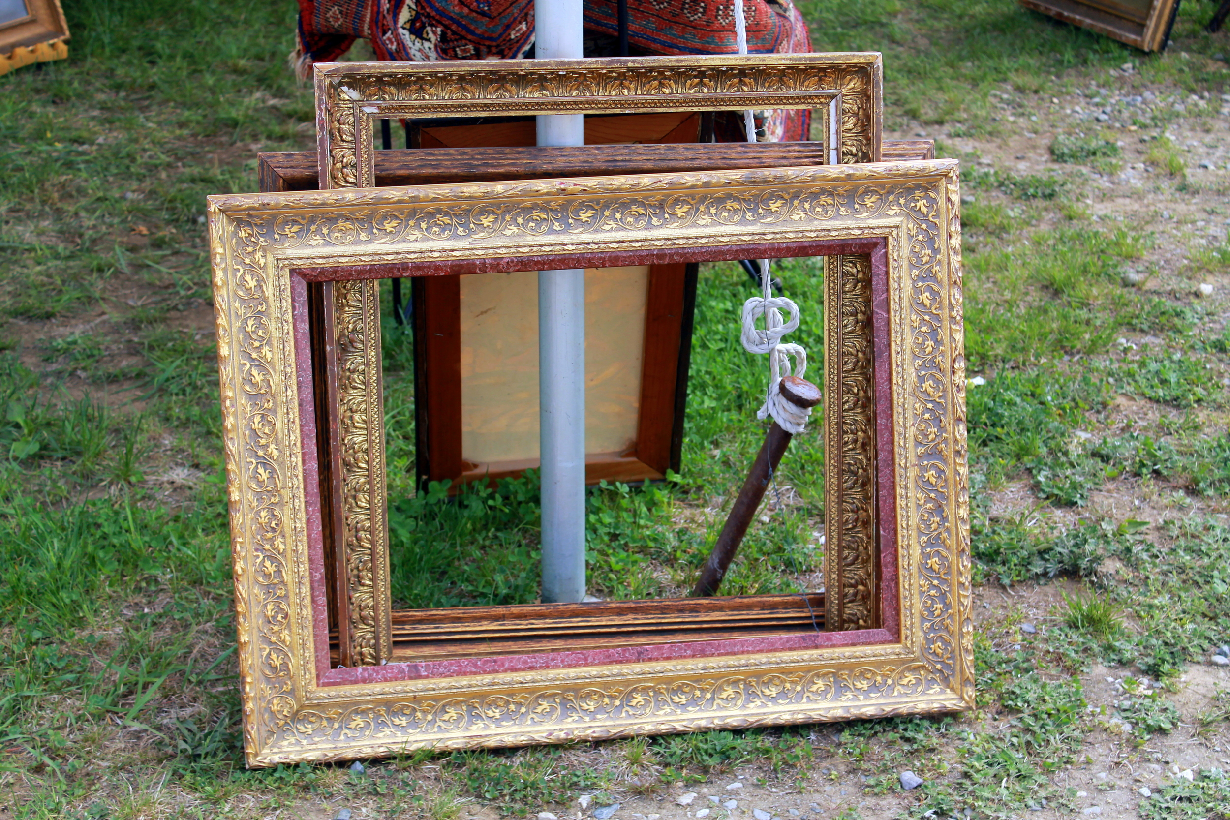 Frames can be expensive. Flea markets and antique shows are great places to acquire some at a great price. Don't worry about the imperfections - Slight imperfections can be covered up with some paint - Try black lacquer or gold.