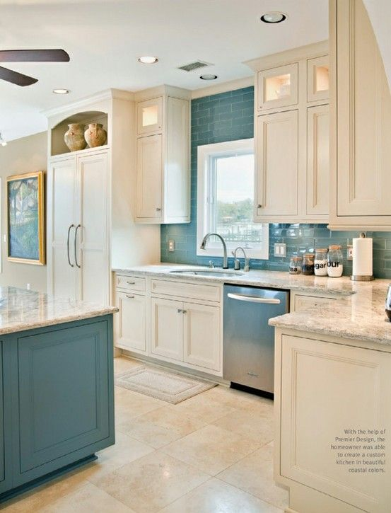 A blue reminiscent of the sea offers a calming effect in a space that is often high energy. Image via Charleston Home + Design Magazine.
