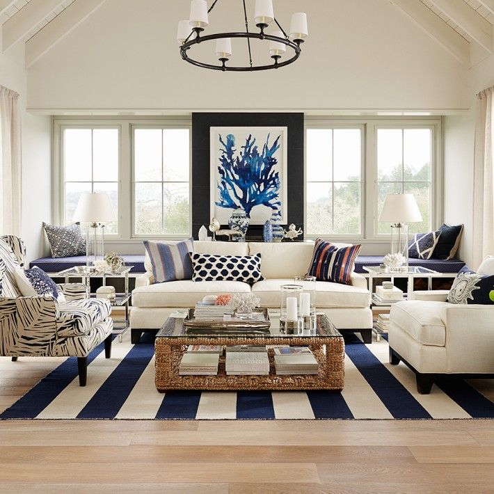 Clean lines and modern patterns and prints make this blue and white combination at home in the country or concrete jungle.